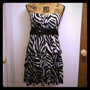 Zebra Print Strapless Belted Sweetheart Mini Dress